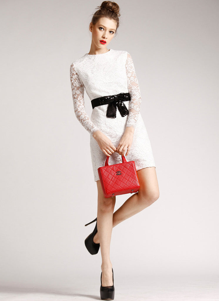 White Lace Sheath Mini Dress with Black Belt