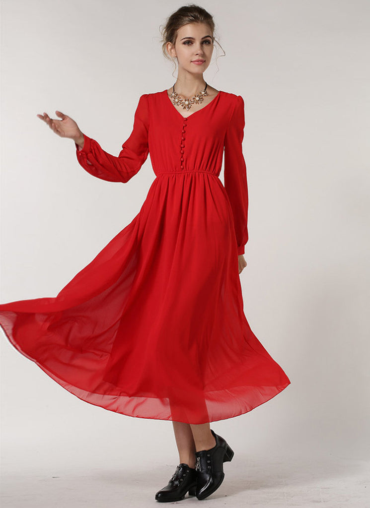 Long Sleeved Red Chiffon Maxi Dress with V Neck