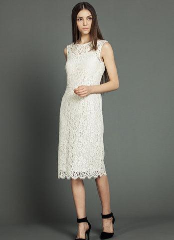 Sleeveless White Lace Tea Dress with Scalloped Hem and Eyelash Details RD628
