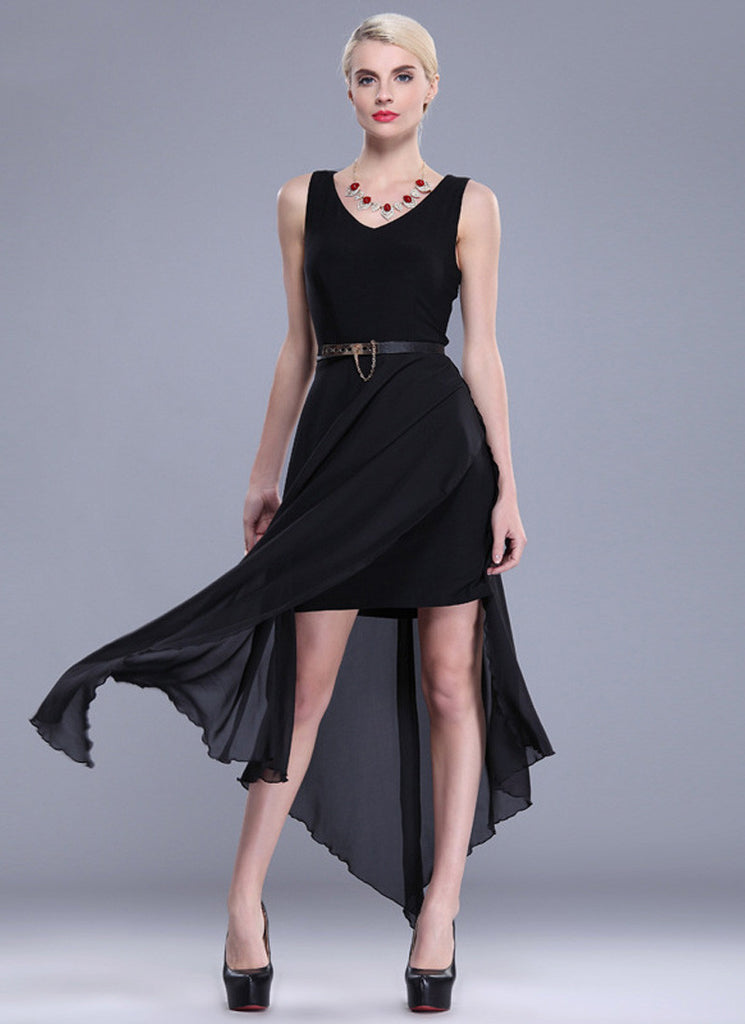 Black Asymmetric Dress with High Slit