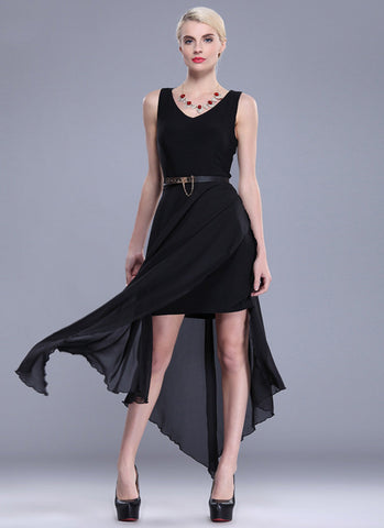 Black Asymmetric Dress with High Slit RM594