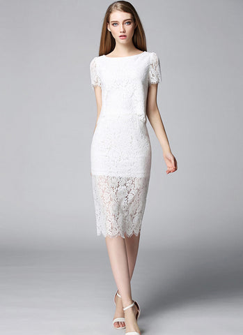 White Lace Min Sheath Dress with Scalloped Hem and Eyelash Details (Top + Skirt) RD561