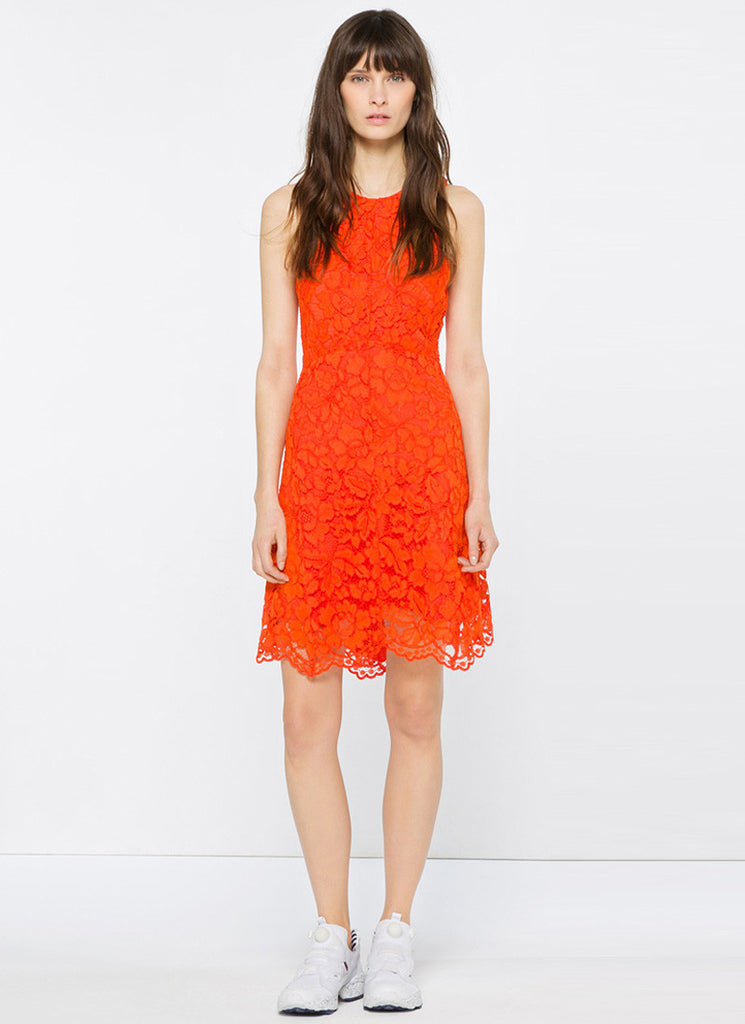 Sleeveless Orange Lace Mini Dress with Scalloped Hem and Eyelash Details RD629
