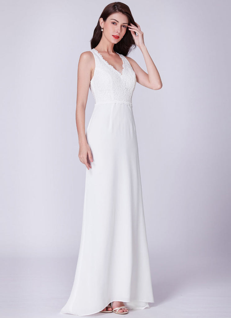 White Maxi Dress with Scalloped V Neck Lace Top 192001