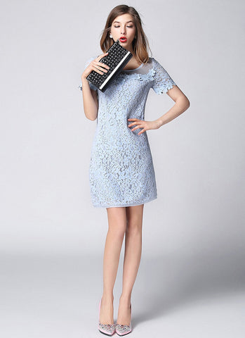 Light Blue Lace Sheath Mini Dress with Appliqué and Organza Details RD634