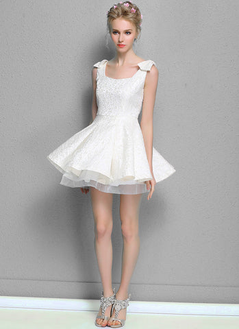 White Jacquard Fit and Flare Mini Dress with Layered Organza Skirt RD576