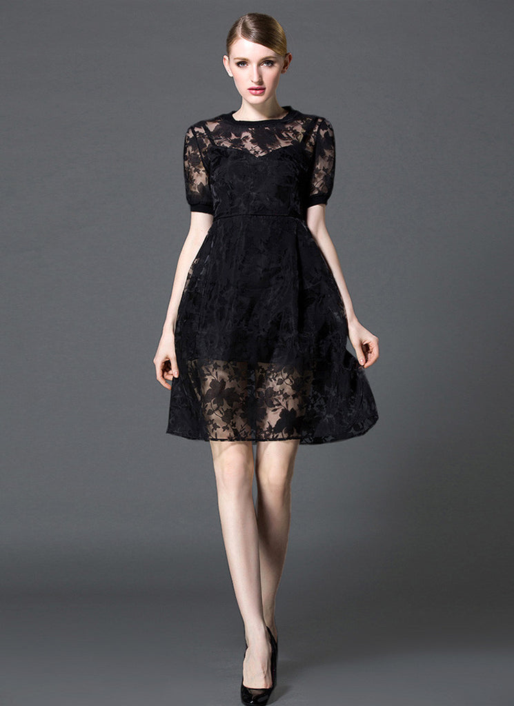Black Organza Mini Dress with Abstract Leaf Print