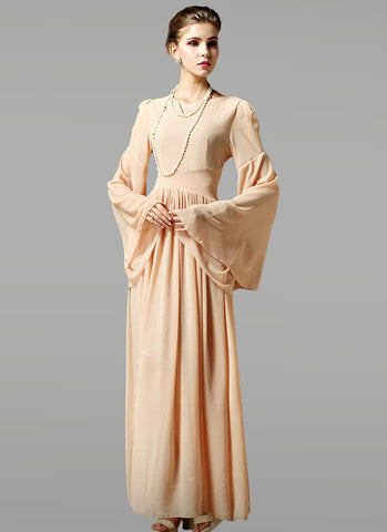 Burly Wood Maxi Dress with Trumpet Sleeves and Curvy Waist Yoke RM349