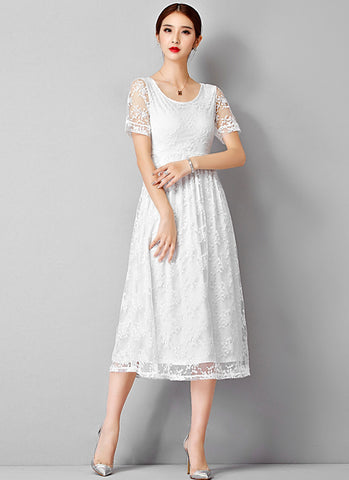 White Embroidered Lace Midi Dress RM651