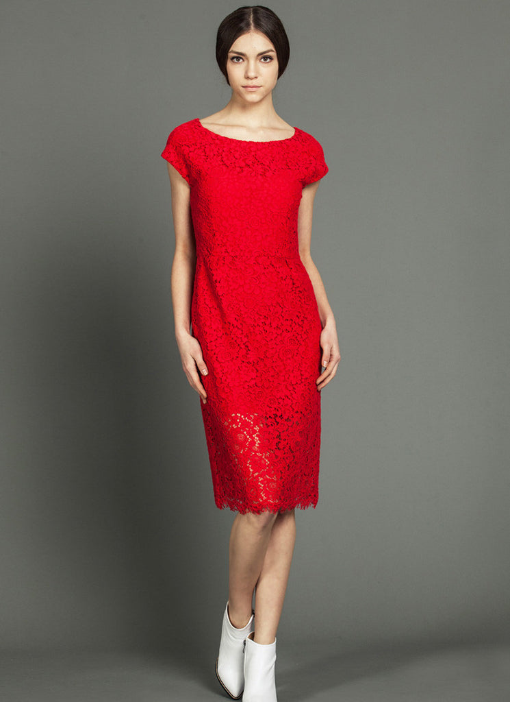 Red Lace Tea Dress with Cap Sleeves and Scalloped Hem