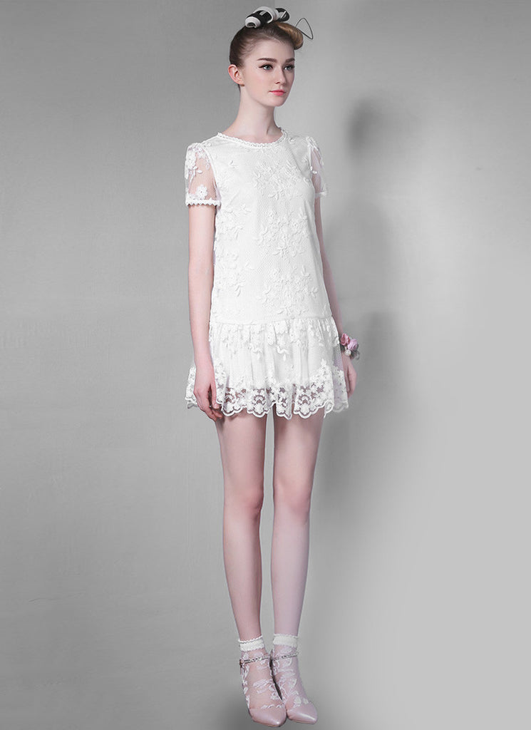 Low Waisted White Lace Mini Dress with Scalloped Hem
