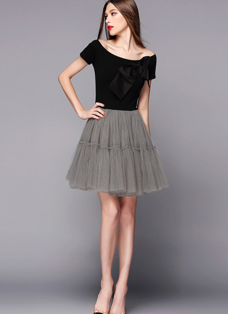 Off-Shoulder Black and Gray Tulle Mini Dress