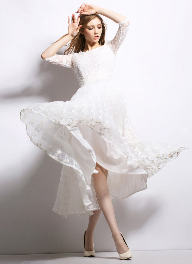White Organza Lace Maxi Dress with Elbow Sleeves