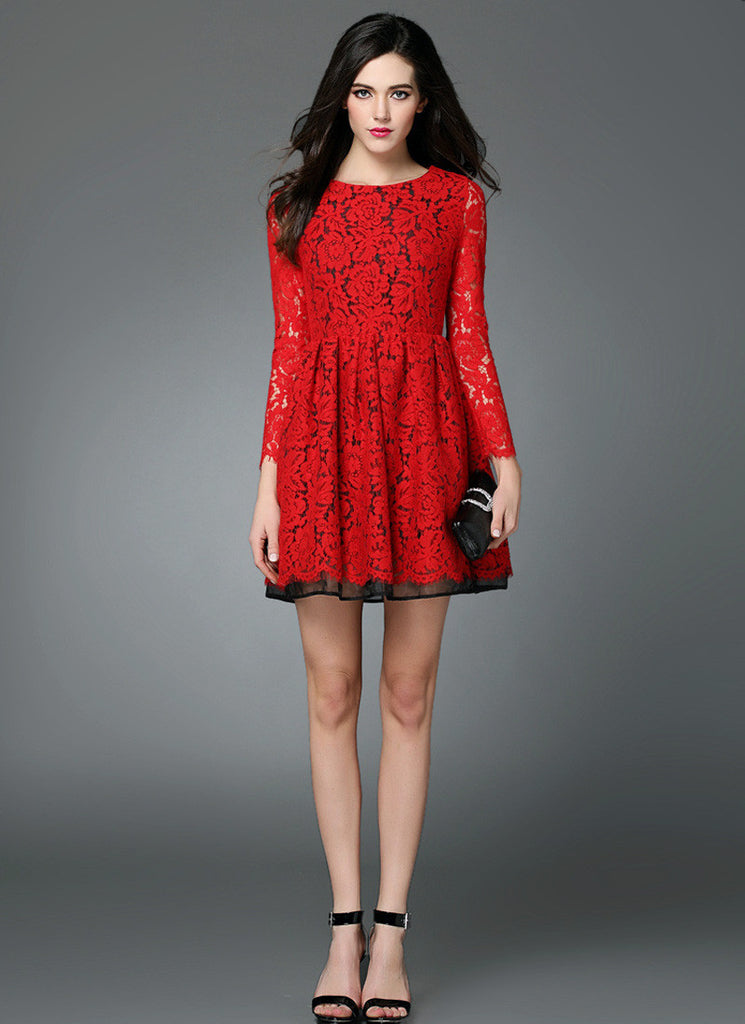 Red Lace Fit and Flare Mini Dress with Three Quarter Sleeves and Black Lining