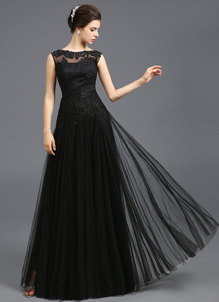 Open Back Black Evening Dress with Tulle Overlay and Lace Floral Appliqué