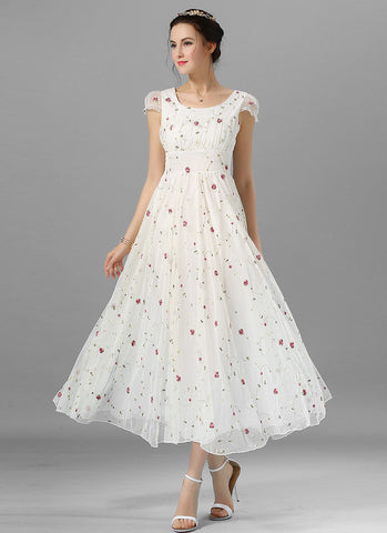Floral Embroidered White Lace Maxi Dress with Ruffled Bodice and Wide Waist Yoke RM601