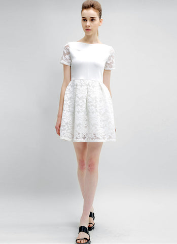 Scoop Back White Lace Mini Dress with Solid Top RD539
