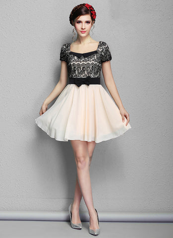 Black Lace Mini Dress with Nude Skirt and Modified Peter Pan Collar RD573