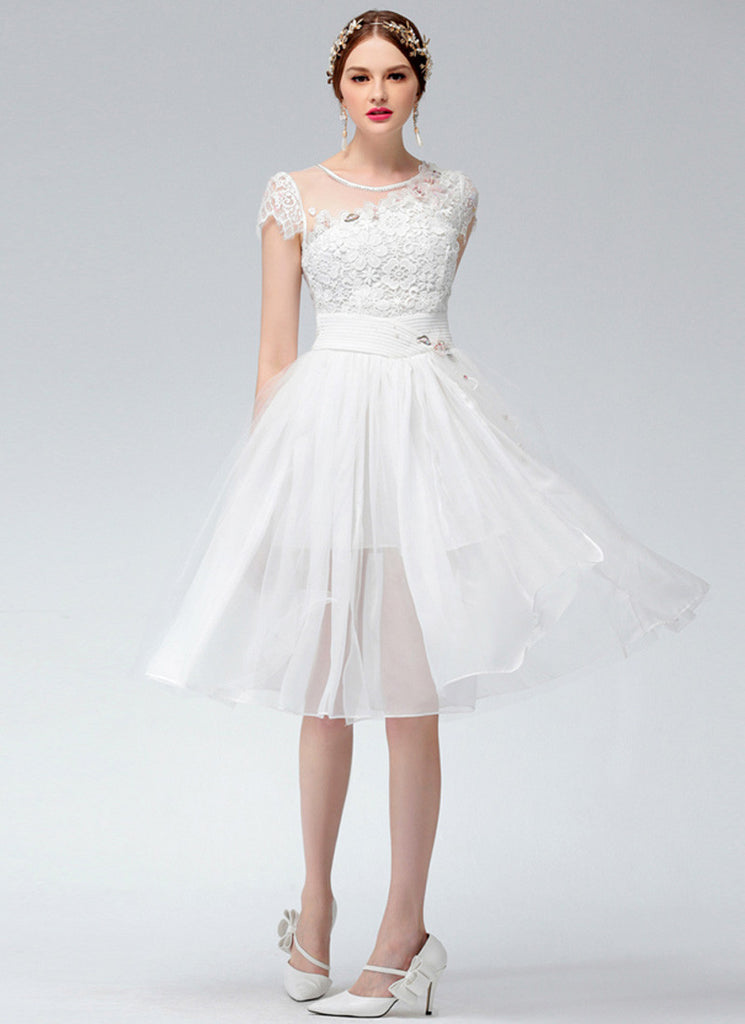 Faux One Shoulder White Lace Chiffon Mini Fit and Flare Dress with Cap Sleeves