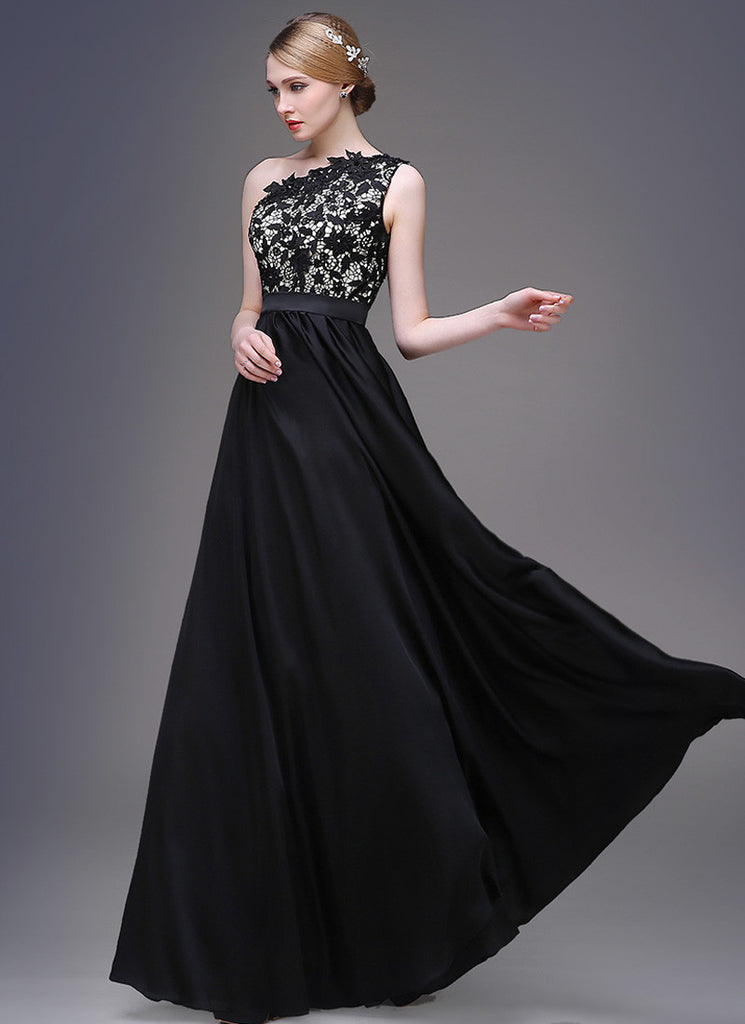One-Shoulder Black Lace Satin Evening Dress with Cabochon Embellishment