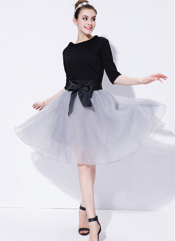 Black and Light Gray Fit and Flare Mini Dress with Oversized Satin Bow Belt