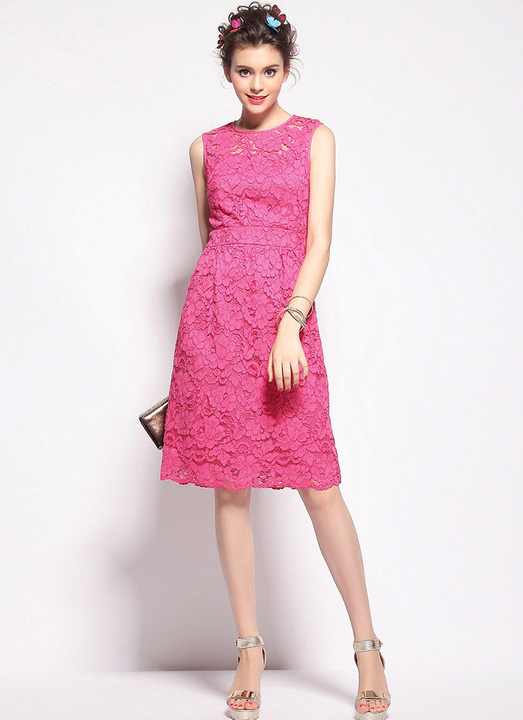 Deep Pink Lace Aline Mini Dress with Scalloped Hem and Eyelash Finishes