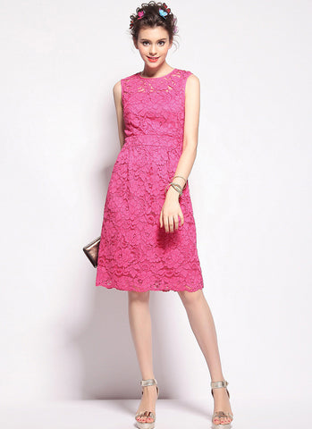Deep Pink Lace Aline Mini Dress with Scalloped Hem and Eyelash Finishes RD587