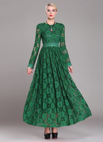 Long Sleeved Emerald Green Lace Maxi Dress with Bead Embellished Top RM650