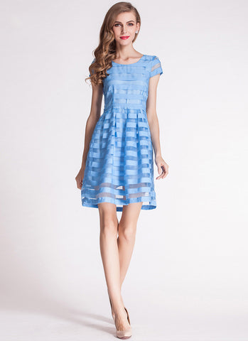 Blue Striped Organza Mini Dress with Cap Sleeves RD599