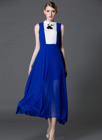 Blue Maxi Dress with White Shirt Top RM573