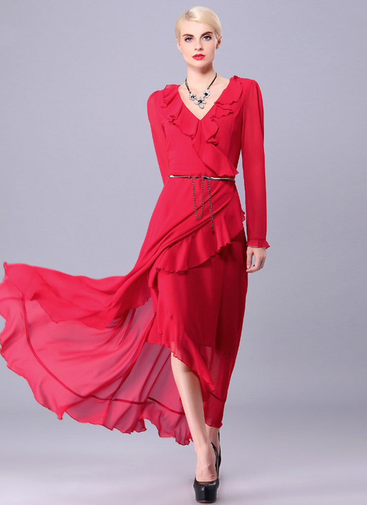 Red Asymmetric Maxi Dress with V Neck and Flounce Details
