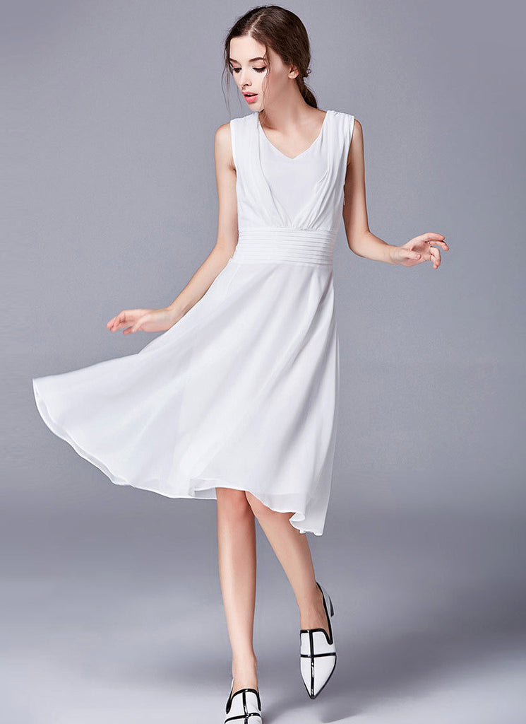 White Fit and Flare Mini Dress with Deep V Neck and Pleated Waist Yoke