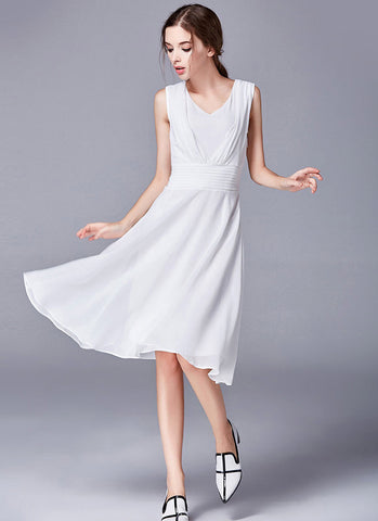 White Fit and Flare Mini Dress with Deep V Neck and Pleated Waist Yoke RD572