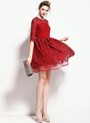 Maroon Lace Mini Fit and Flare Dress with Layered Skirt and Scalloped Hem RD584