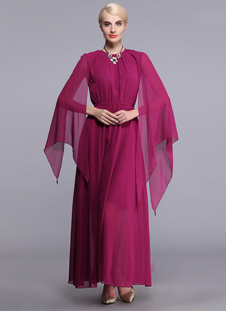 Dark Violet Red Chiffon Maxi Dress with Pointed Sleeves