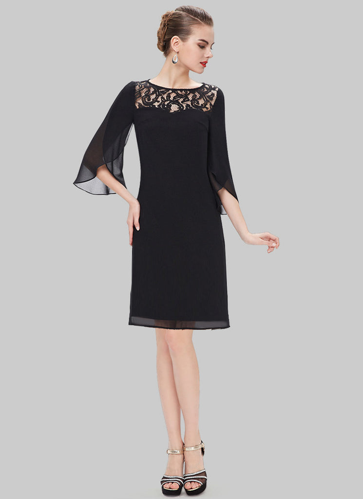 Black Lace Chiffon Mini Dress with Trumpet Sleeves