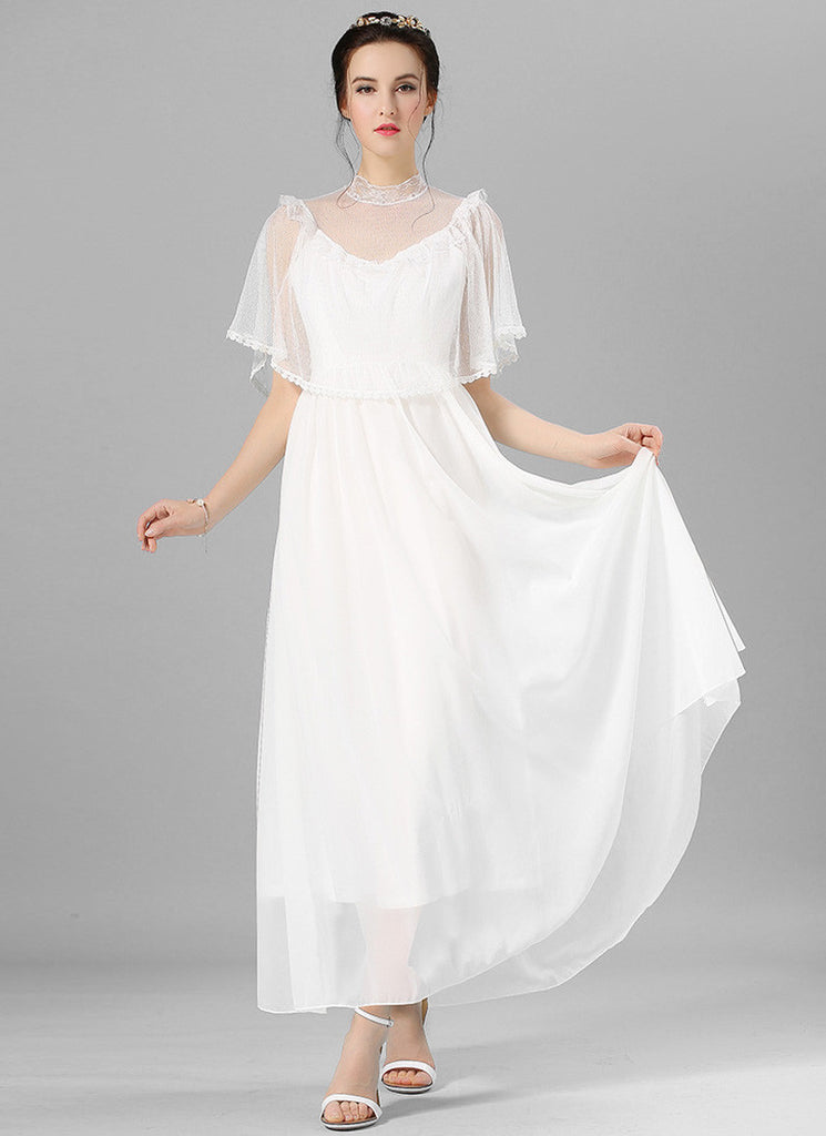 White Chiffon Maxi Dress with Tulle Cloak