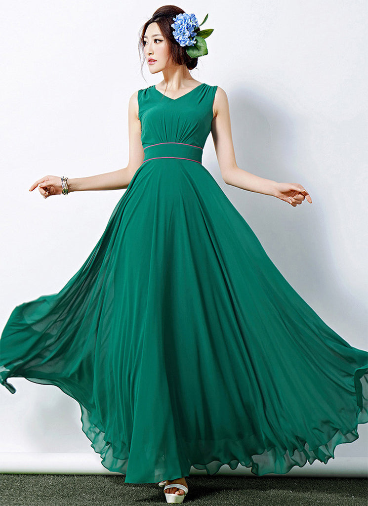 V Neck Green Maxi Dress with Red Piping on Waist Yoke
