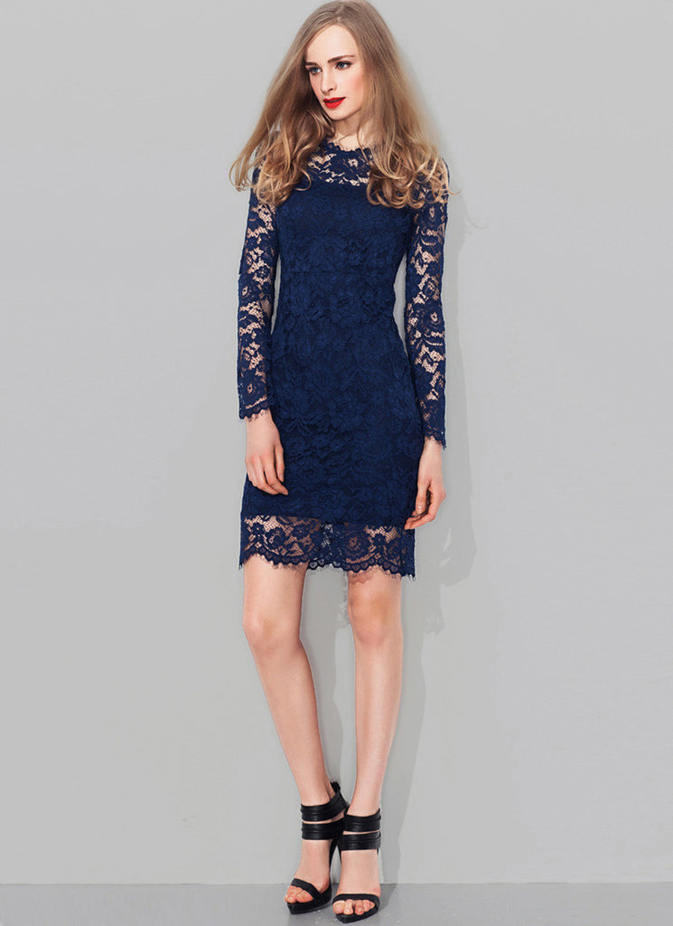 Navy Lace Sheath Mini Dress with Scalloped Hem and Eyelash Details