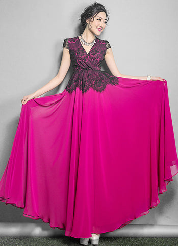 V Neck Deep Pink Maxi Dress with Black Lace Peplum Top RM641