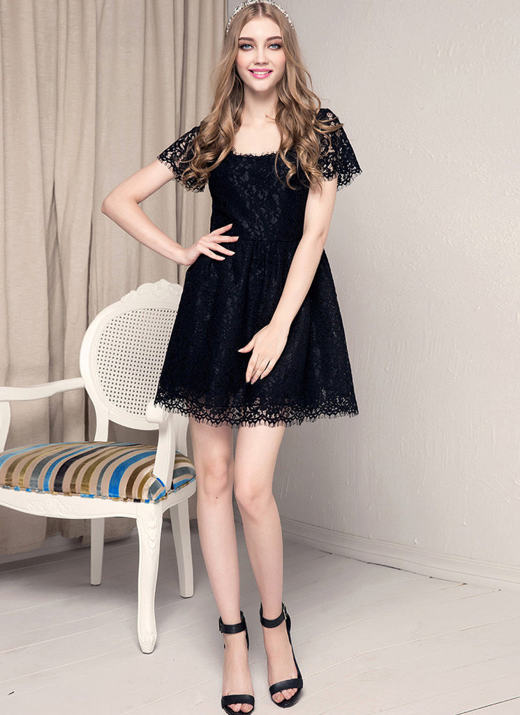 Black Lace Fit and Flare Mini Dress with Square Neck and Back