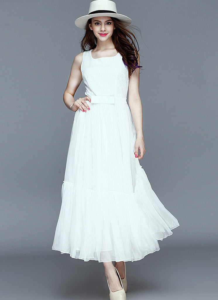 White Lace Chiffon Maxi Dress with Ruffled Tiered Skirt and Bow Belt
