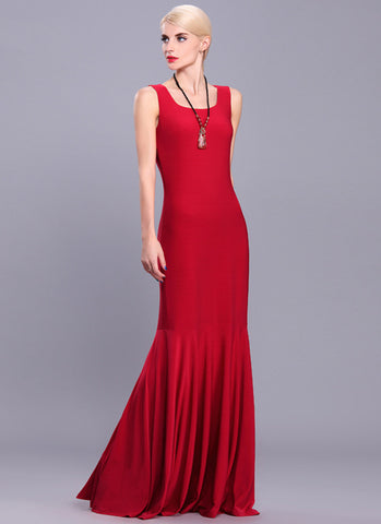 Red Floor Length Evening Dress with Flounce Hem RM587