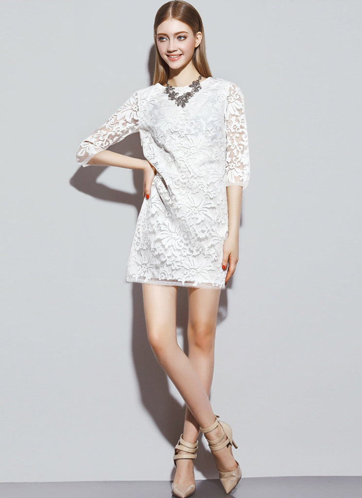 Three Quarter Sleeved White Lace Mini Dress with Abstract Floral Pattern