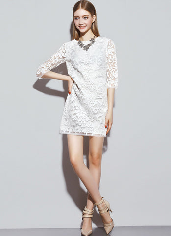 Three Quarter Sleeved White Lace Mini Dress with Abstract Floral Pattern RD518