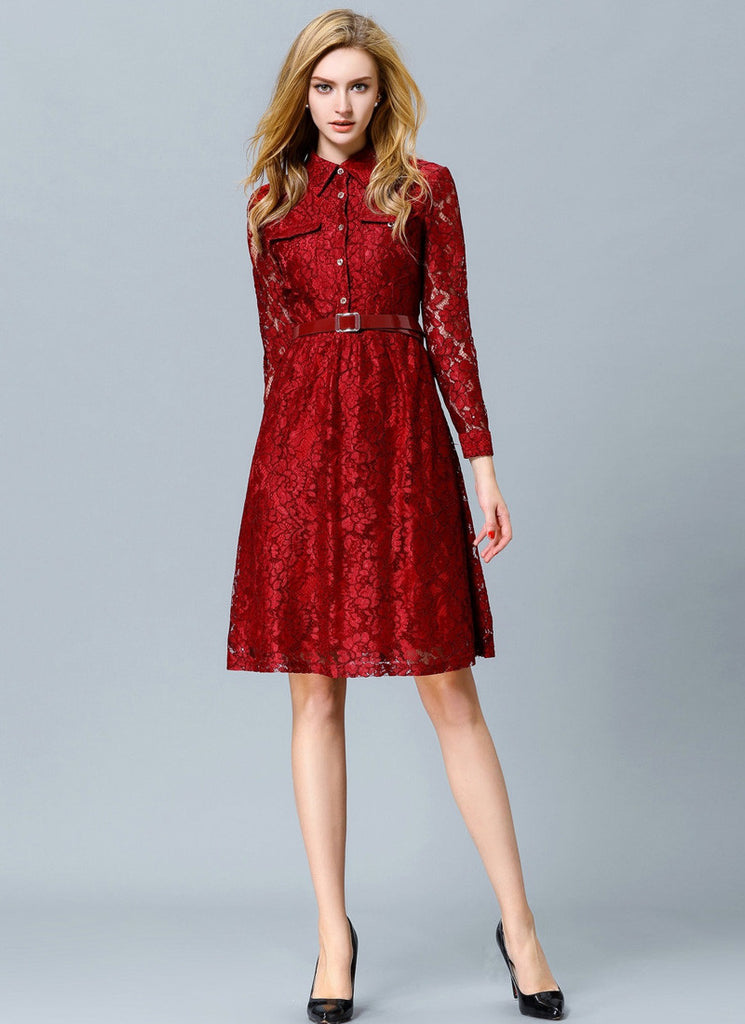 Maroon Lace Aline Dress with Shirt Top