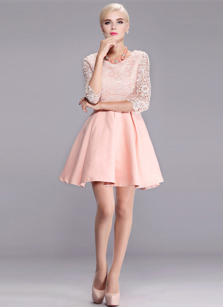 Nude Pink Lace Satin Mini Dress with Scalloped Peplum and Elbow Sleeves