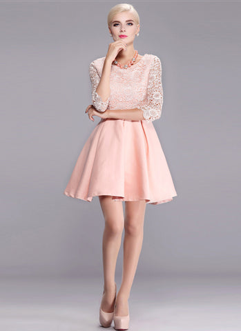 Nude Pink Lace Satin Mini Dress with Scalloped Peplum and Elbow Sleeves RD580