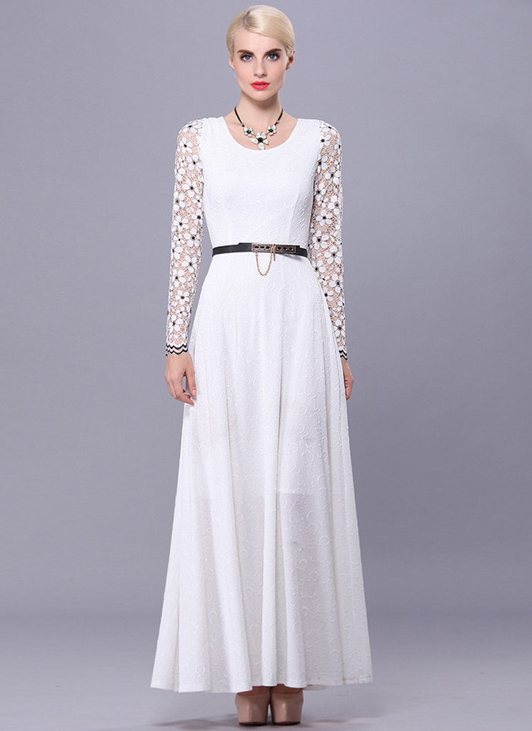 Long Sleeve White Lace Maxi Dress with Black Details