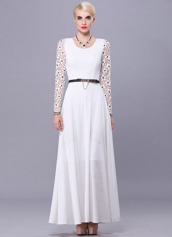 Long Sleeve White Lace Maxi Dress with Black Details RM533